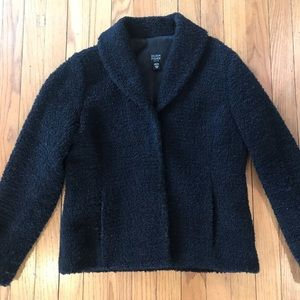 Black Eileen Fisher Wool Boucle Jacket
